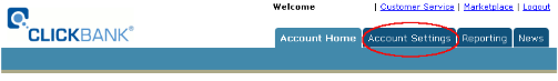 Main Page in Clickbank Interface