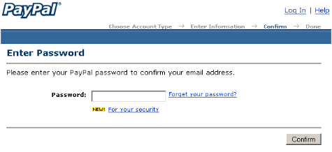 Confirm Password In PayPal