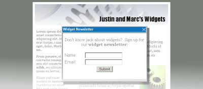 Example of web page with a pop-over form