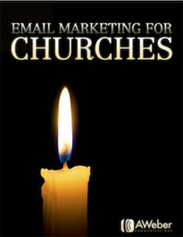 A dark-colored pdf cover with a burning candle and the inscription EMAIL MARKETING FOR CHUTCHES