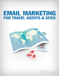 A whitish pdf cover with a map of the world and inscription EMAIL MARKETING FOR TRAVEL AGENTS & SITES
