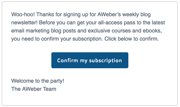 Subscription confirmation by AWeber
