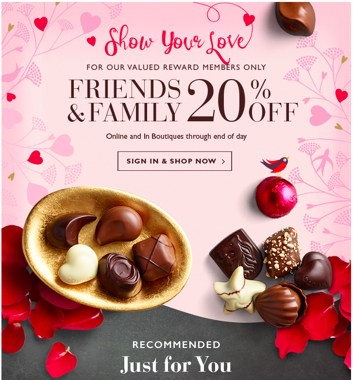 an example of a discount email from Godiva