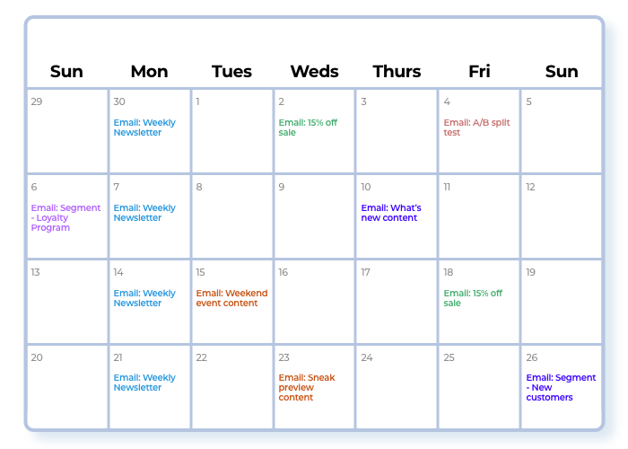 Email marketing calendar sample