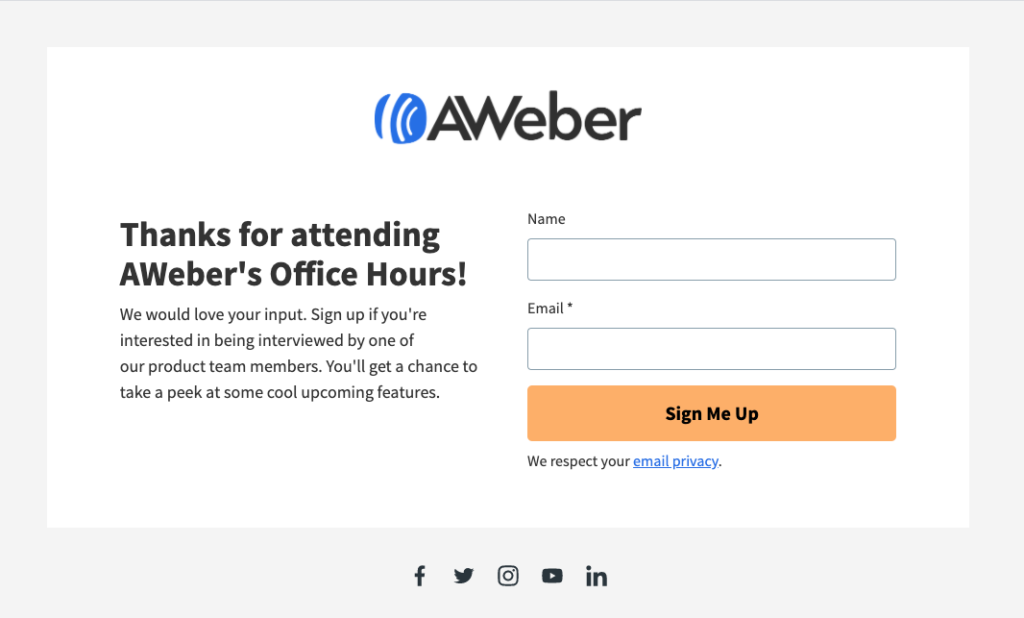 AWeber simple landing page example