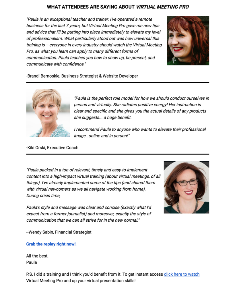Social proof email from Paula RIzzo