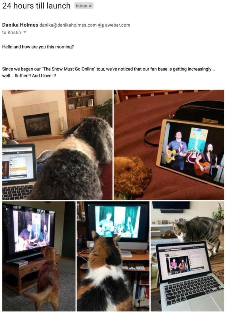 Email with pictures of pets sent in by Danika & the Jeb fans.