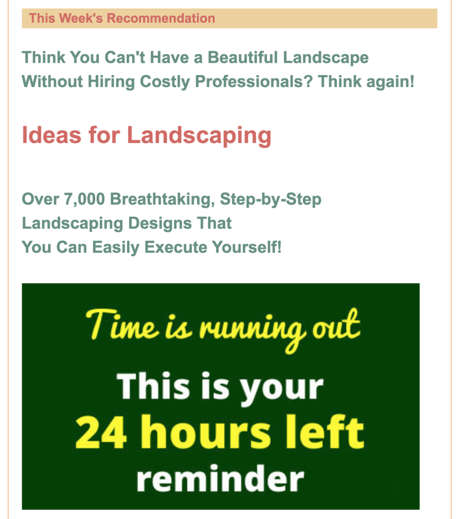 GetOrganziedNow.com partner offering with landscaping product.