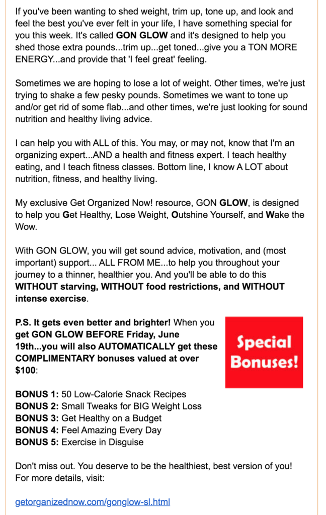 Detailed description of the product of the week and the specific limited timed bonuses offered.