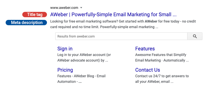 Example of a title tag and meta description with an AWeber search