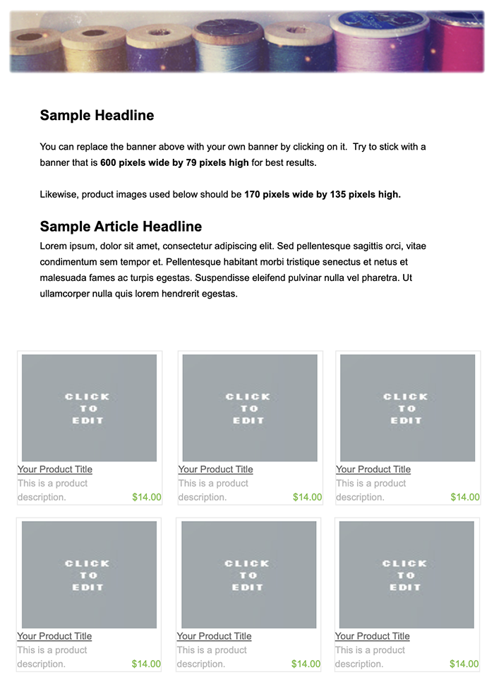 Store Etsy email template