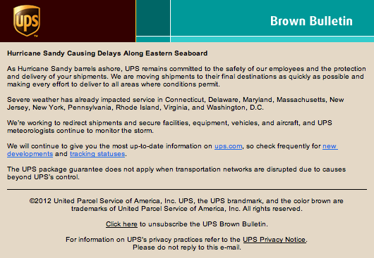 Email from UPS informing customers of delays caused by hurricane