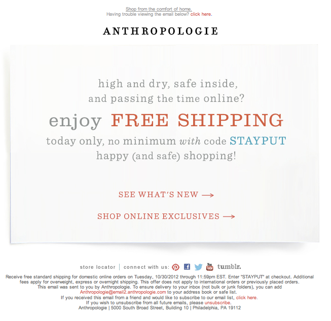 Email example from Anthropologie