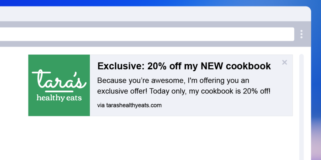 web push notification with exclusive and limited-time offer