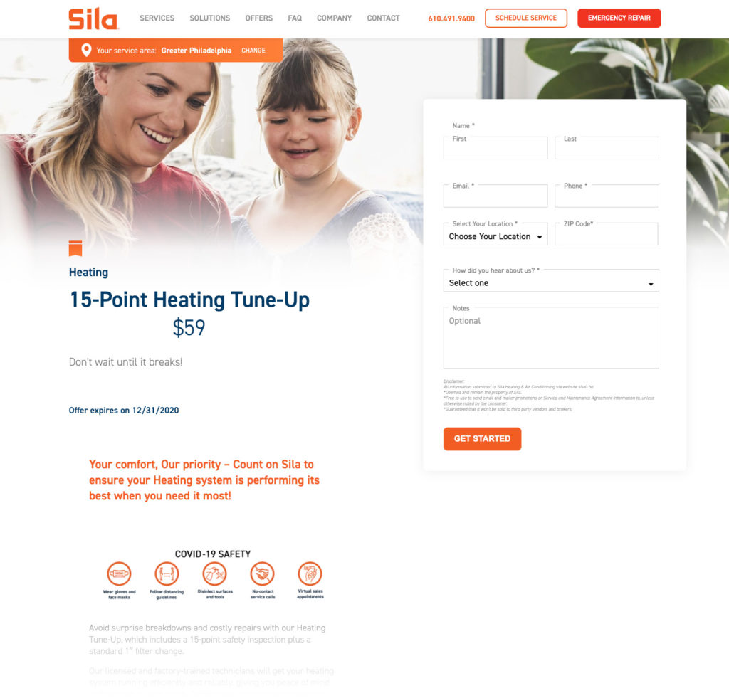 PPC landing page example