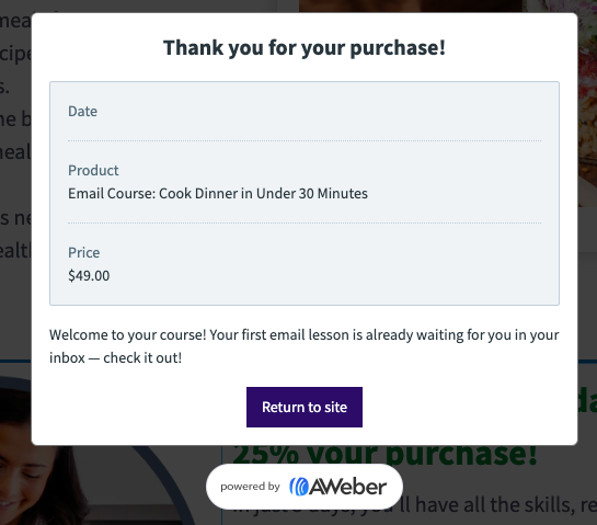 AWeber landing page thank you for your purchase