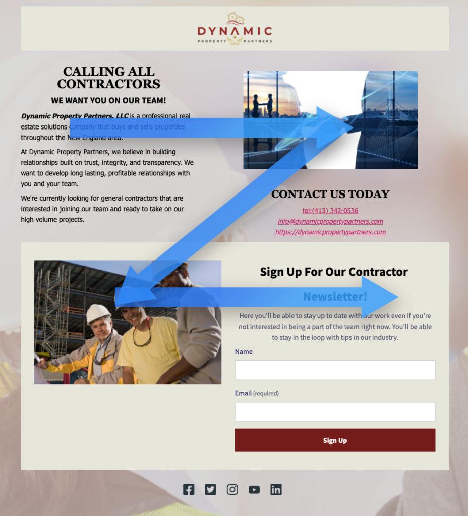 z-pattern landing page example
