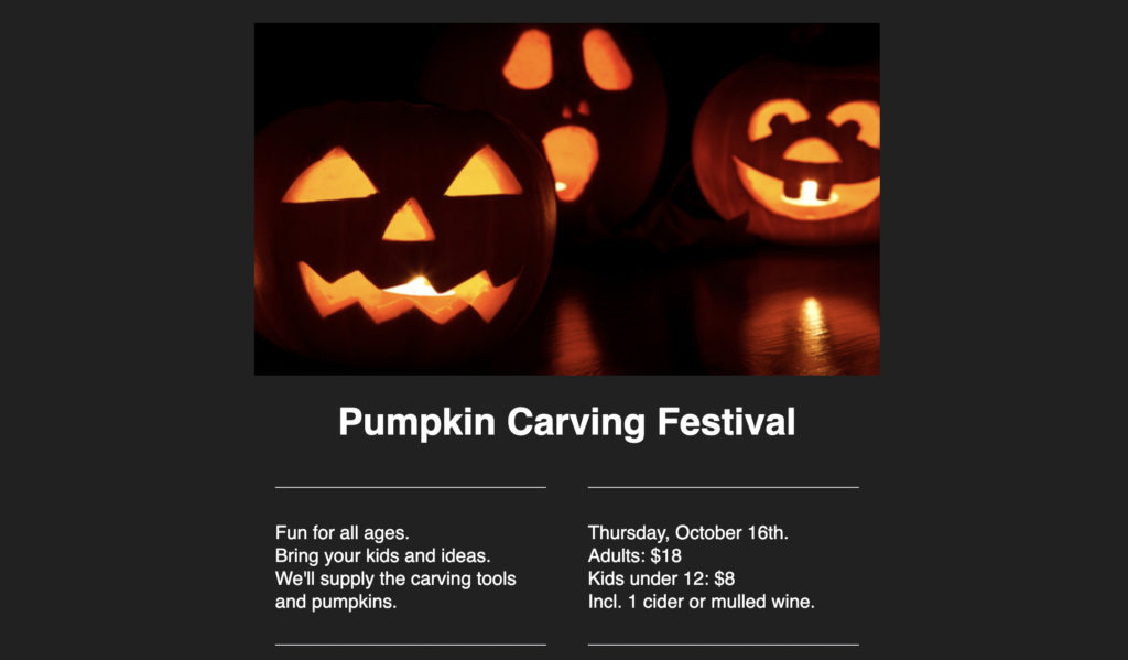 """Dark background template with an image with pumpkins and text that says """"Pumpkin Carving Festival."""""""